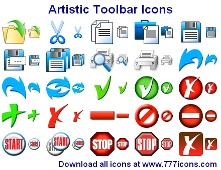 Artistic Toolbar Icons Screen shot