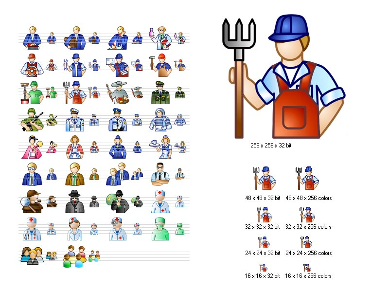 Images of people of various occupations